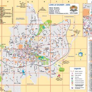 Plan général/administratif de Lons-le-Saunier, 39 Jura